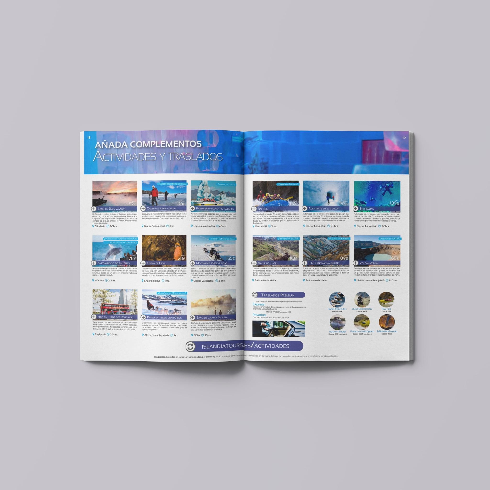 Página de actividades catálogo