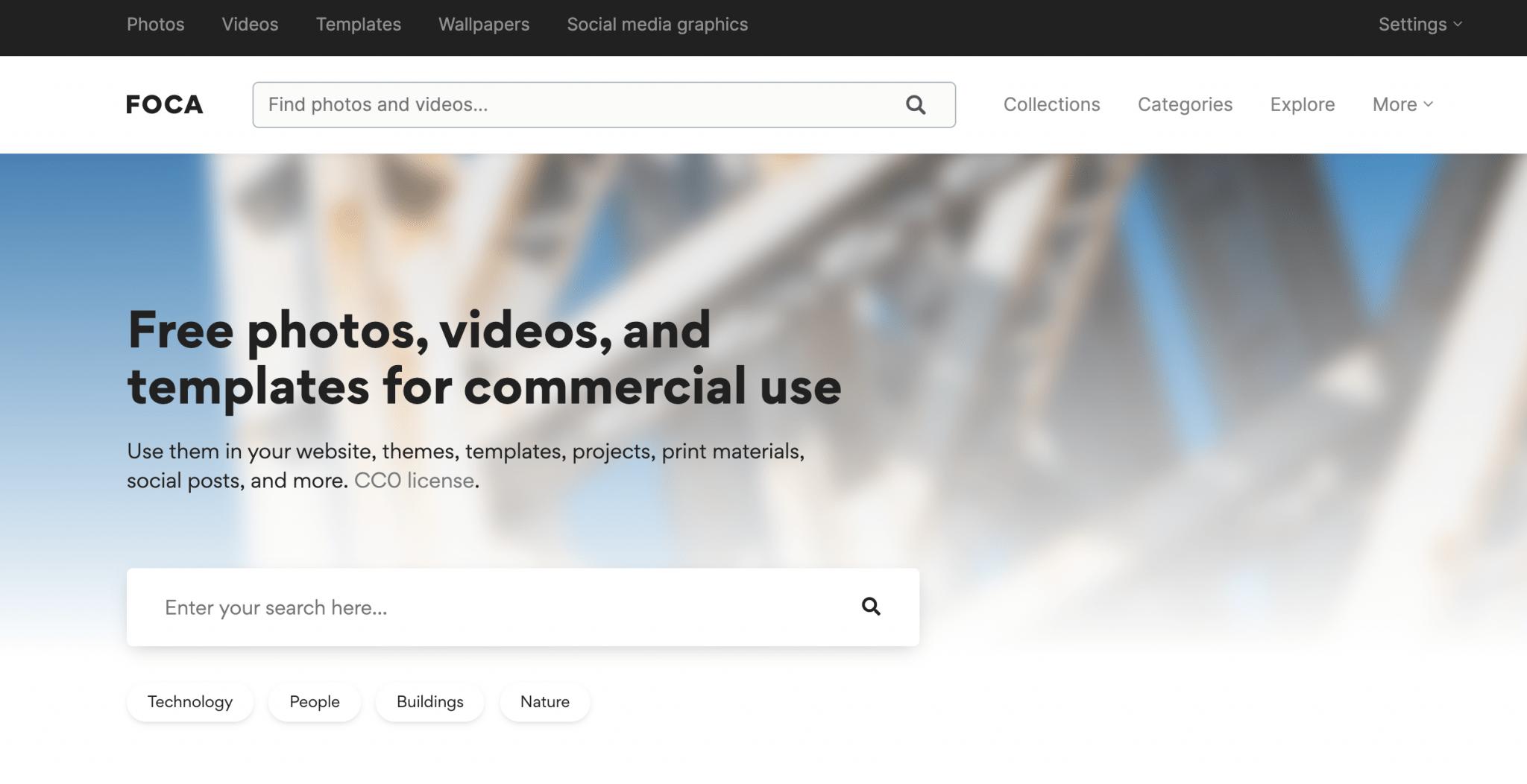 Captura de pantalla de la web foca stock
