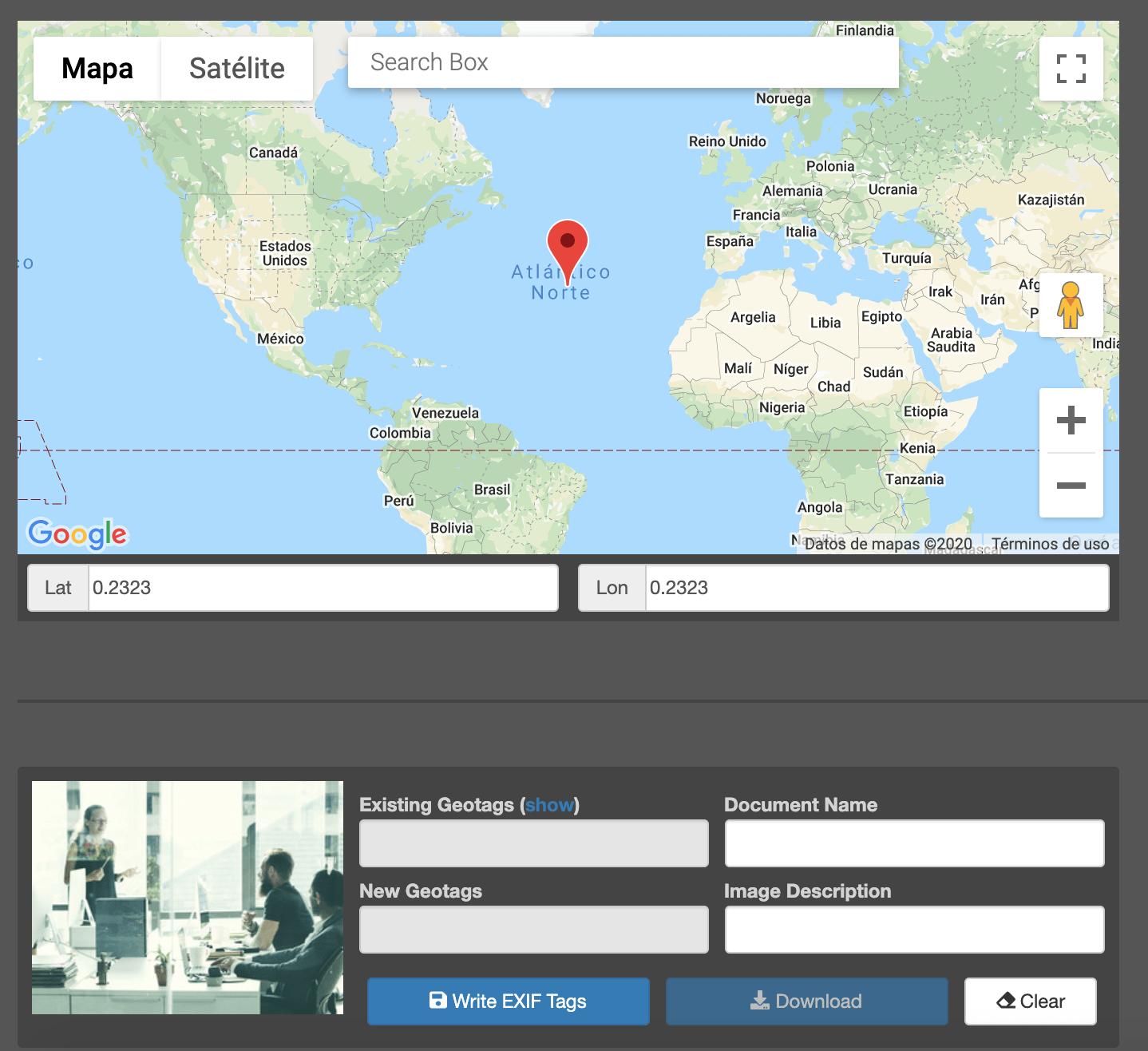 Captura de herramienta para geolocalizar imágenes en el mapa