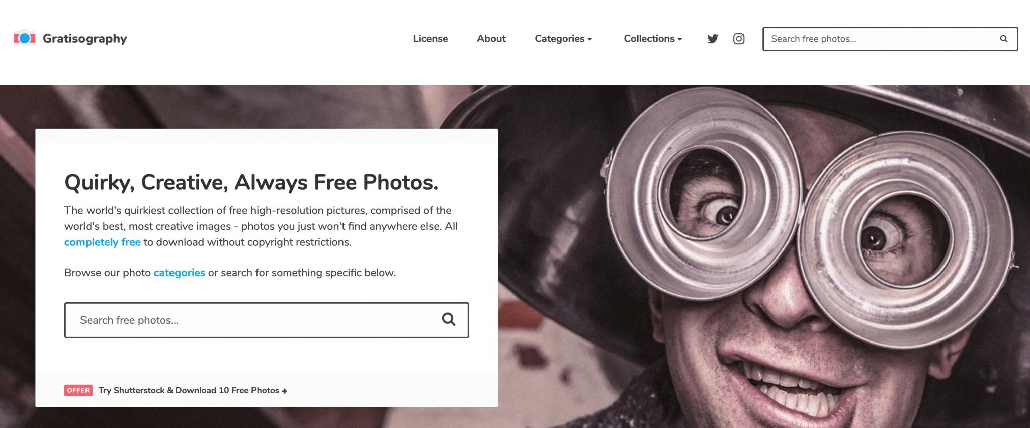 Captura de pantalla de la web de imágenes gratuitas gratisography