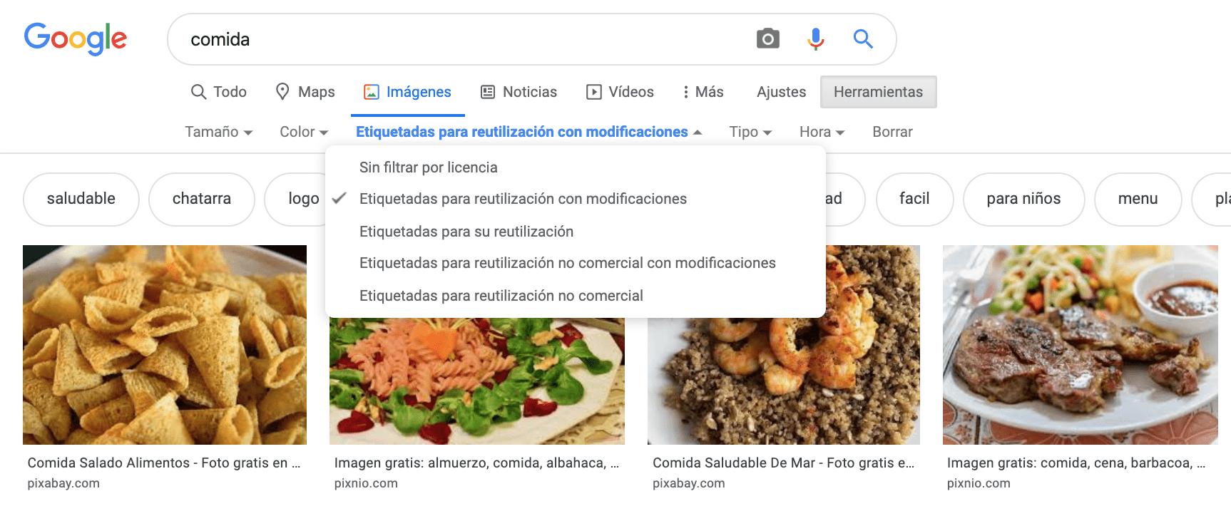 Captura de pantalla de la web google imágenes para encontrar imágenes etiquetadas para reutilización con modificaciones