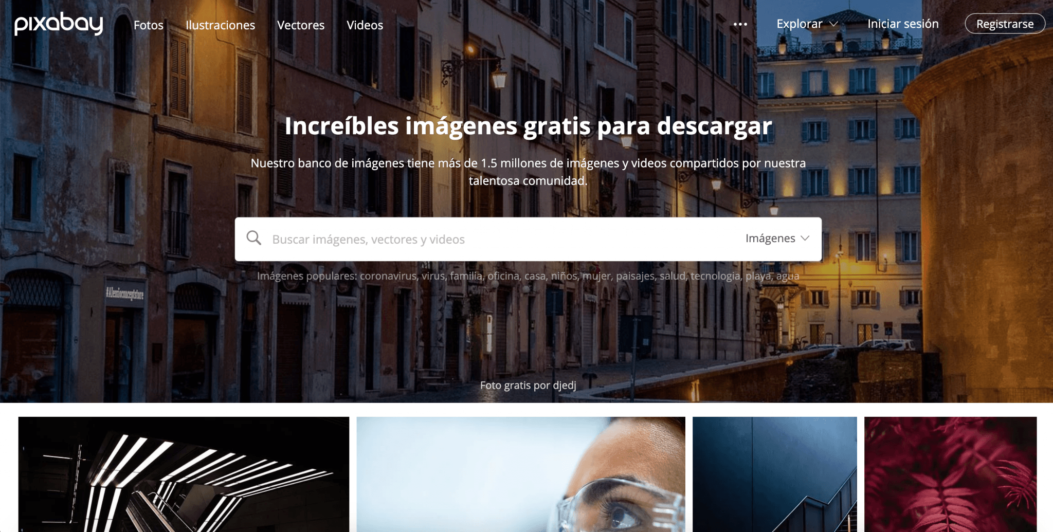 Captura de pantalla de la web Pixabay, increíbles imágenes gratis para descargar