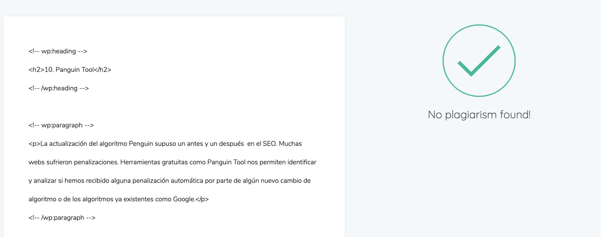 herramienta SEO para comprobar contenido duplicado y plagio Que Text